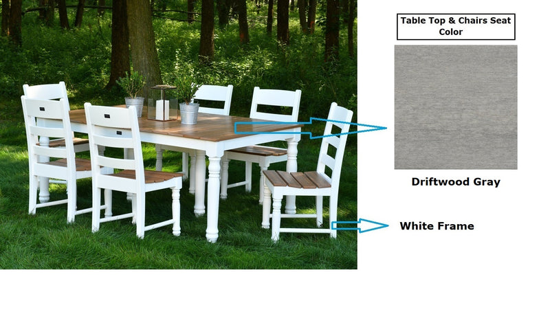 Farm House 72 inch Dining Table Set with 6 Dining Chairs by Wildridge