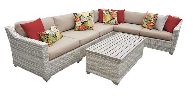 Fairmont 7 Piece Outdoor Wicker Patio Furniture Set 07b