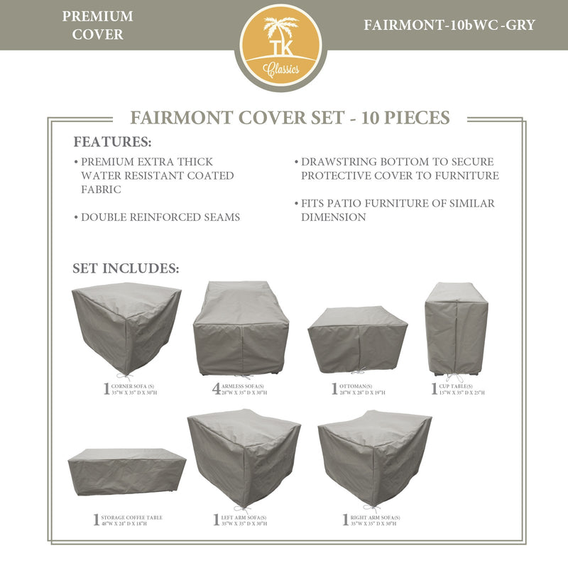 FAIRMONT-10b Protective Cover Set, in Grey