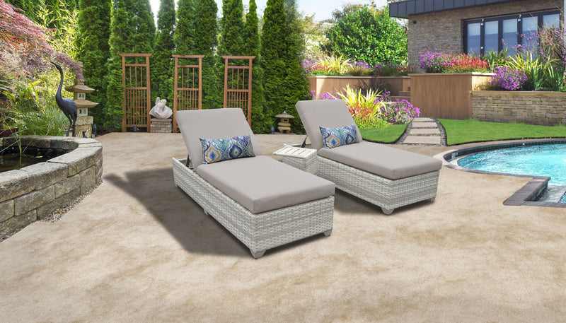 Fairmont Chaise Set of 2 Outdoor Wicker Patio Furniture With Side Table