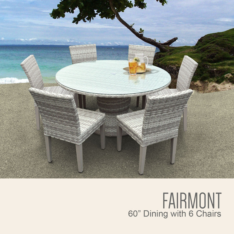 Fairmont 60 Inch Outdoor Patio Dining Table with 6 Armless Chairs Without Cushions