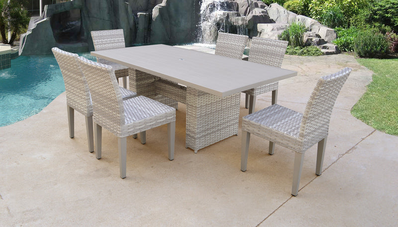 Fairmont Rectangular Outdoor Patio Dining Table with 6 Armless Chairs Without Cushions