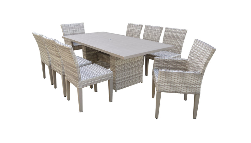Fairmont Rectangular Outdoor Patio Dining Table With 6 Armless Chairs And 2 Chairs W- Arms Without Cushions