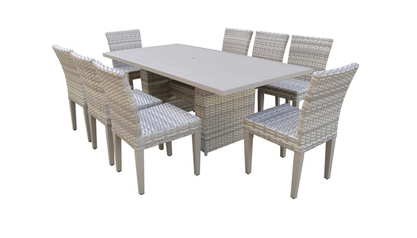 Fairmont Rectangular Outdoor Patio Dining Table with 8 Armless Chairs Without Cushions