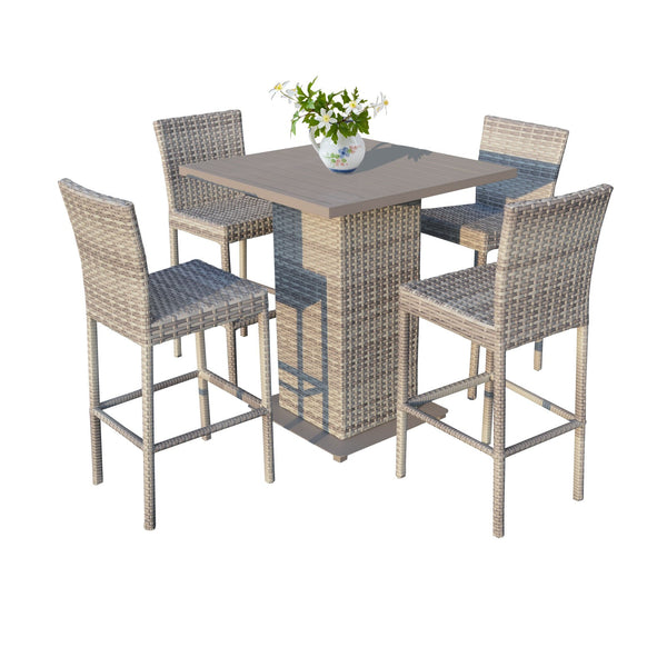 Fairmont Pub Table Set With Barstools 5 Piece Outdoor Wicker Patio Furniture