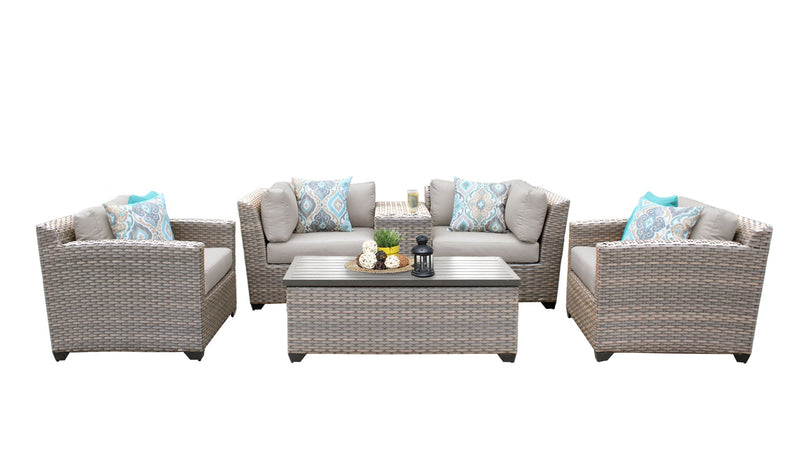 Florence 6 Piece Outdoor Wicker Patio Furniture Set 06d