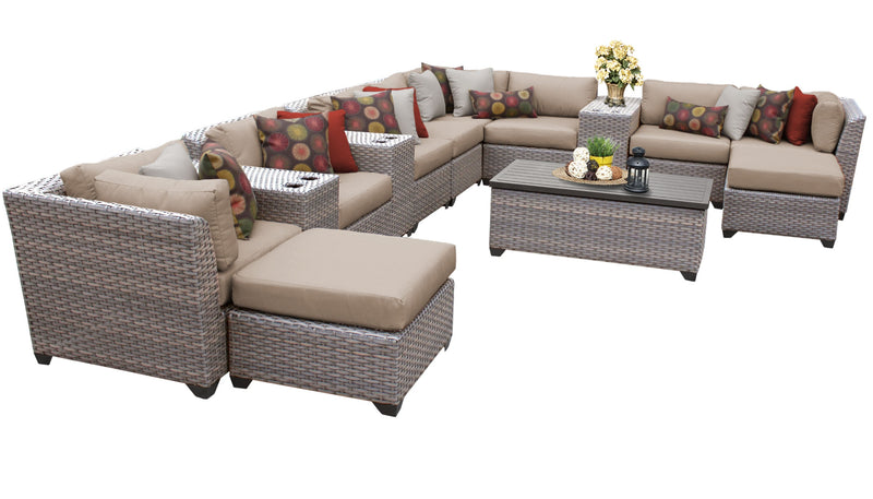 Florence 14 Piece Outdoor Wicker Patio Furniture Set 14a