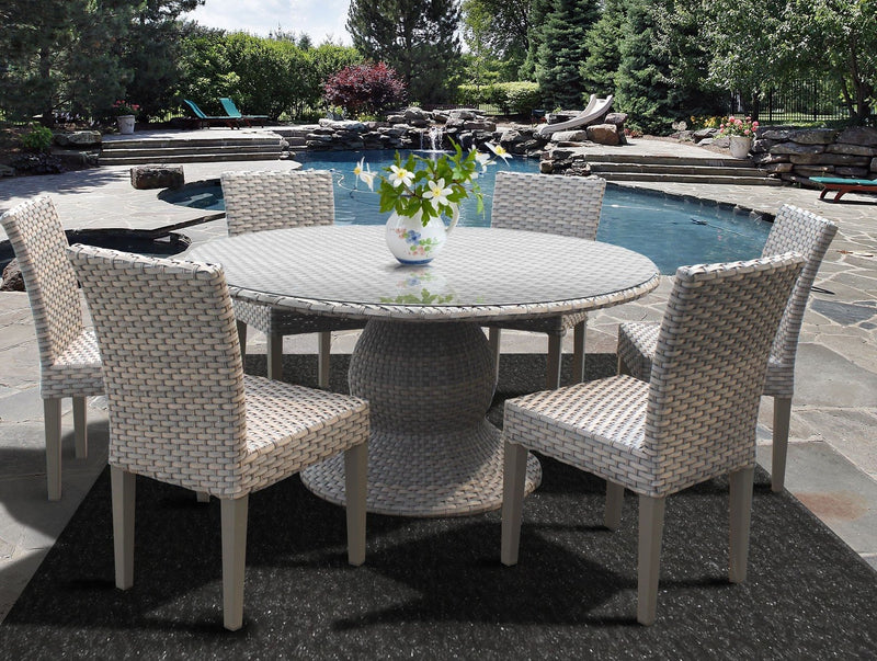 Florence 60 Inch Outdoor Patio Dining Table with 6 Armless Chairs Without Cushions
