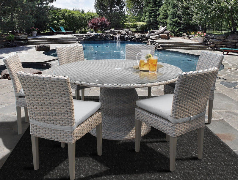Florence 60 Inch Outdoor Patio Dining Table with 6 Armless Chairs