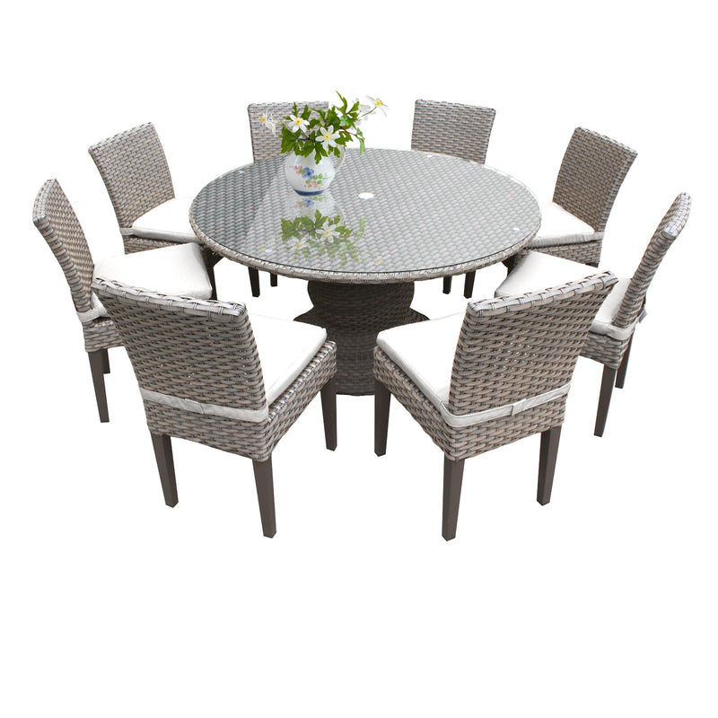 Florence 60 Inch Outdoor Patio Dining Table with 8 Armless Chairs