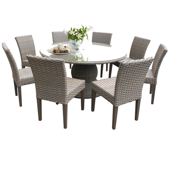 Florence 60 Inch Outdoor Patio Dining Table with 8 Armless Chairs Without Cushions