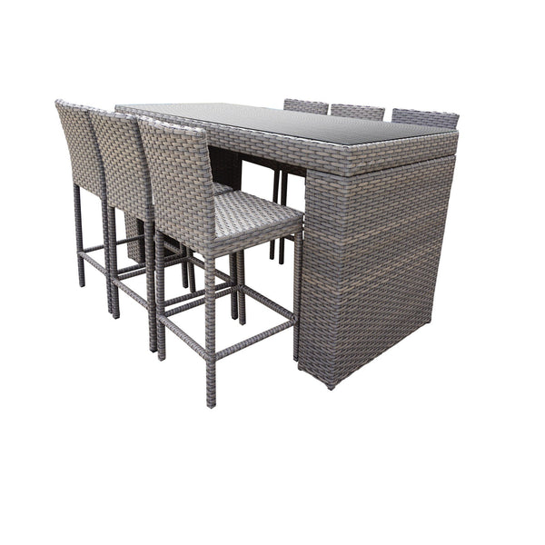 Florence Bar Table Set With Barstools 7 Piece Outdoor Wicker Patio Furniture