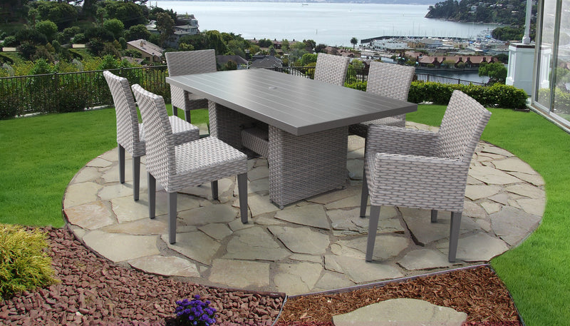 Florence Rectangular Outdoor Patio Dining Table with 4 Armless Chairs and 2 Chairs w- Arms Without Cushions