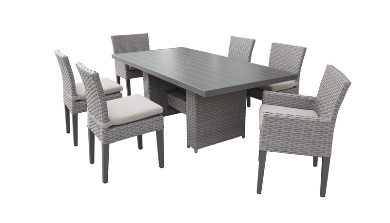 Florence Rectangular Outdoor Patio Dining Table with 4 Armless Chairs and 2 Chairs w- Arms