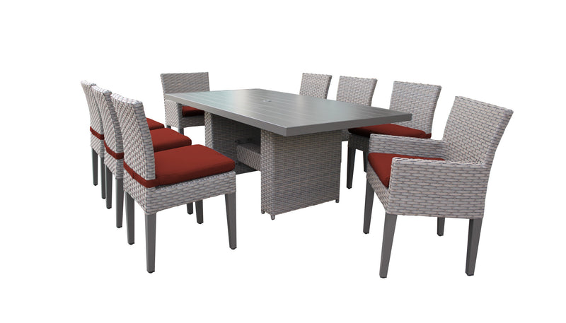 Florence Rectangular Outdoor Patio Dining Table With 6 Armless Chairs And 2 Chairs W- Arms