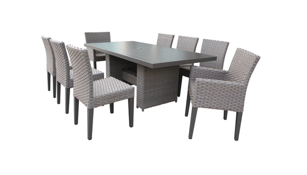Florence Rectangular Outdoor Patio Dining Table With 6 Armless Chairs And 2 Chairs W- Arms Without Cushions