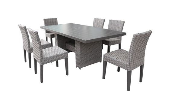 Florence Rectangular Outdoor Patio Dining Table with 6 Armless Chairs Without Cushions