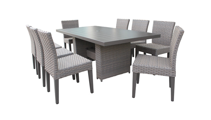 Florence Rectangular Outdoor Patio Dining Table with 8 Armless Chairs Without Cushions