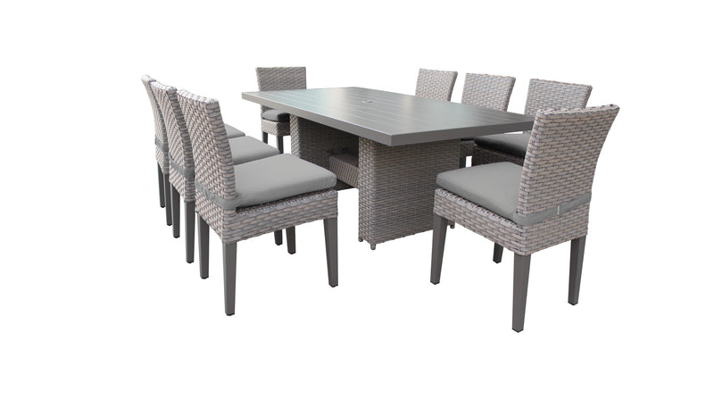 Florence Rectangular Outdoor Patio Dining Table with 8 Armless Chairs