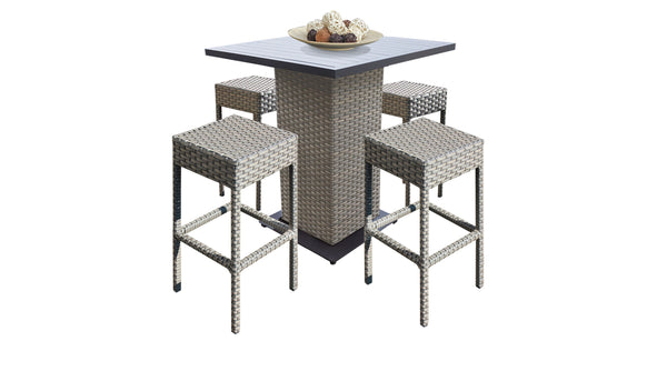 Florence Pub Table Set With Backless Barstools 5 Piece Outdoor Wicker Patio Furniture