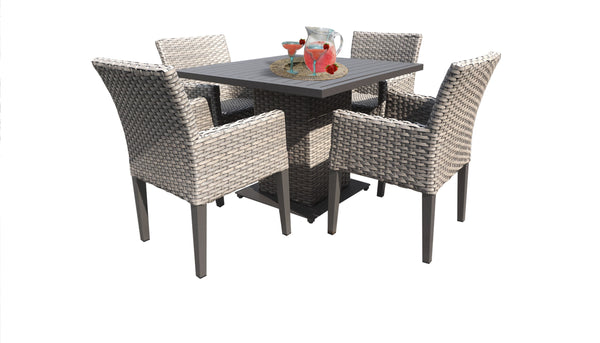 Florence Square Dining Table with 4 Chairs Without Cushions