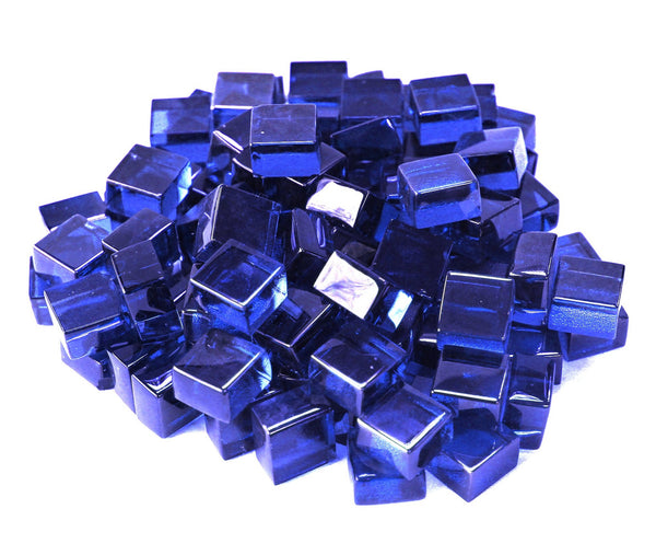 Cobalt Blue 1/2 Reflective Fire Glass Cubes by Gooddegg