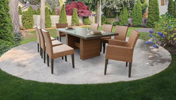 Laguna Rectangular Outdoor Patio Dining Table with with 6 Armless Chairs and 2 Chairs with Arms, Without Cushions