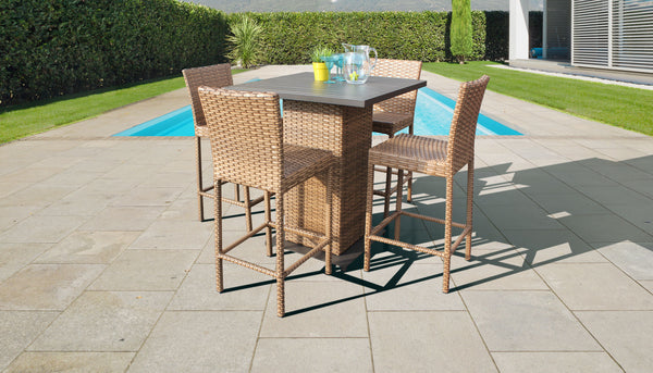 Laguna Pub Table Set With Barstools 5 Piece Outdoor Wicker Patio Furniture
