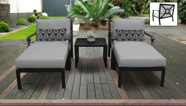 Kathy Ireland Homes & Gardens Madison Ave. 5 Piece Outdoor Aluminum Patio Furniture Set 05b