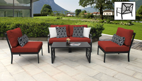 Kathy Ireland Homes & Gardens Madison Ave. 5 Piece Outdoor Aluminum Patio Furniture Set 05d