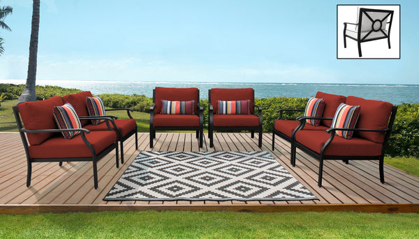 Kathy Ireland Homes & Gardens Madison Ave. 6 Piece Outdoor Aluminum Patio Furniture Set 06w