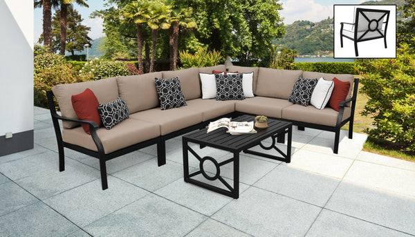 Kathy Ireland Homes & Gardens Madison Ave. 7 Piece Outdoor Aluminum Patio Furniture Set 07b
