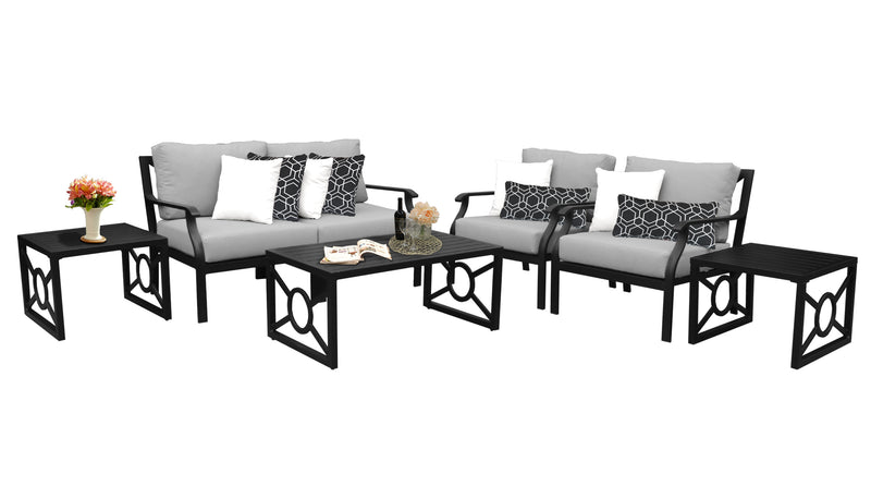 Kathy Ireland Homes & Gardens Madison Ave. 7 Piece Outdoor Aluminum Patio Furniture Set 07d