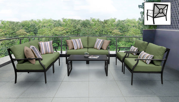 Kathy Ireland Homes & Gardens Madison Ave. 7 Piece Outdoor Aluminum Patio Furniture Set 07e