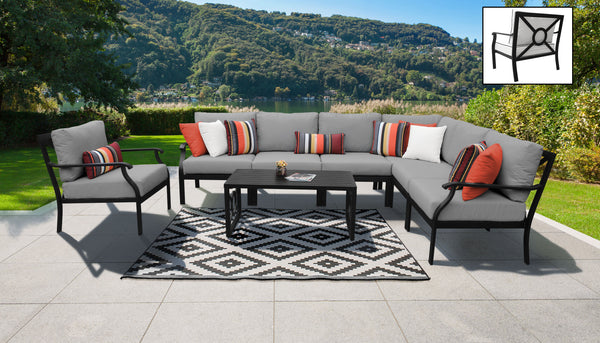 Kathy Ireland Homes & Gardens Madison Ave. 8 Piece Outdoor Aluminum Patio Furniture Set 08d