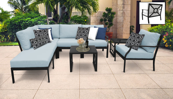 Kathy Ireland Homes & Gardens Madison Ave. 8 Piece Outdoor Aluminum Patio Furniture Set 08m