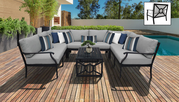 Kathy Ireland Homes & Gardens Madison Ave. 9 Piece Outdoor Aluminum Patio Furniture Set 09c