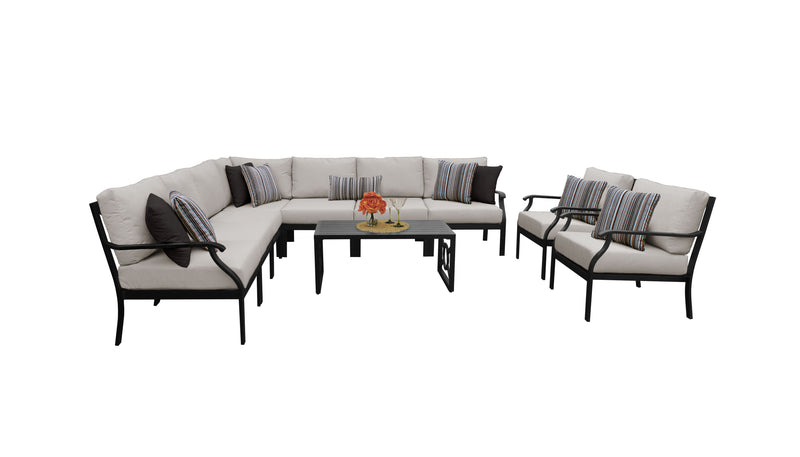 Kathy Ireland Homes & Gardens Madison Ave. 10 Piece Outdoor Aluminum Patio Furniture Set 10a