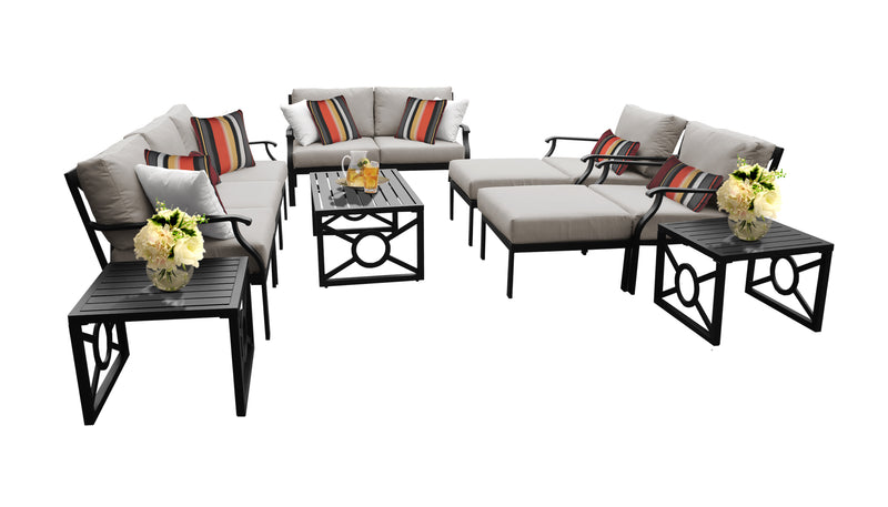 Kathy Ireland Homes & Gardens Madison Ave. 12 Piece Outdoor Aluminum Patio Furniture Set 12h