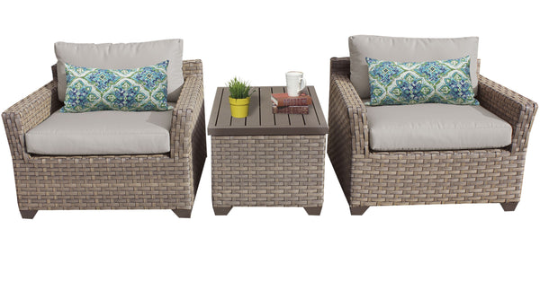 Monterey 3 Piece Outdoor Wicker Patio Furniture Set 03a