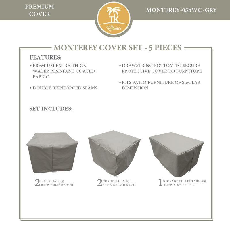 MONTEREY-05b Protective Cover Set, in Grey