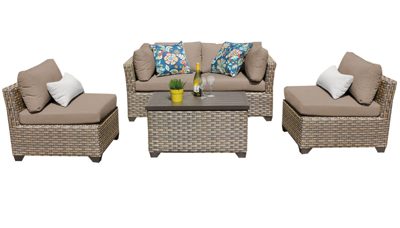 Monterey 5 Piece Outdoor Wicker Patio Furniture Set 05c