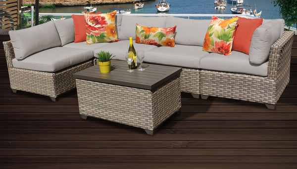 Monterey 6 Piece Outdoor Wicker Patio Furniture Set 06a