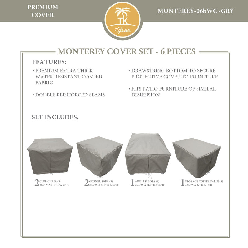 MONTEREY-06b Protective Cover Set, in Grey