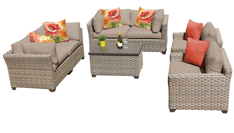 Monterey 7 Piece Outdoor Wicker Patio Furniture Set 07c
