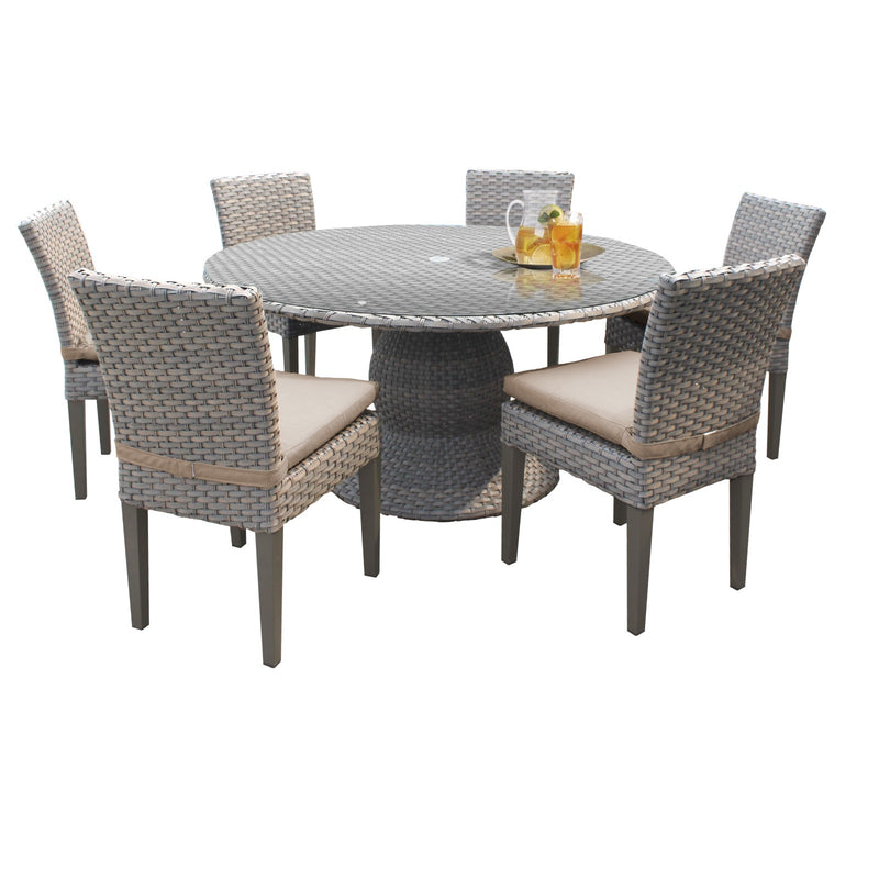 Monterey 60 Inch Outdoor Patio Dining Table with 6 Armless Chairs