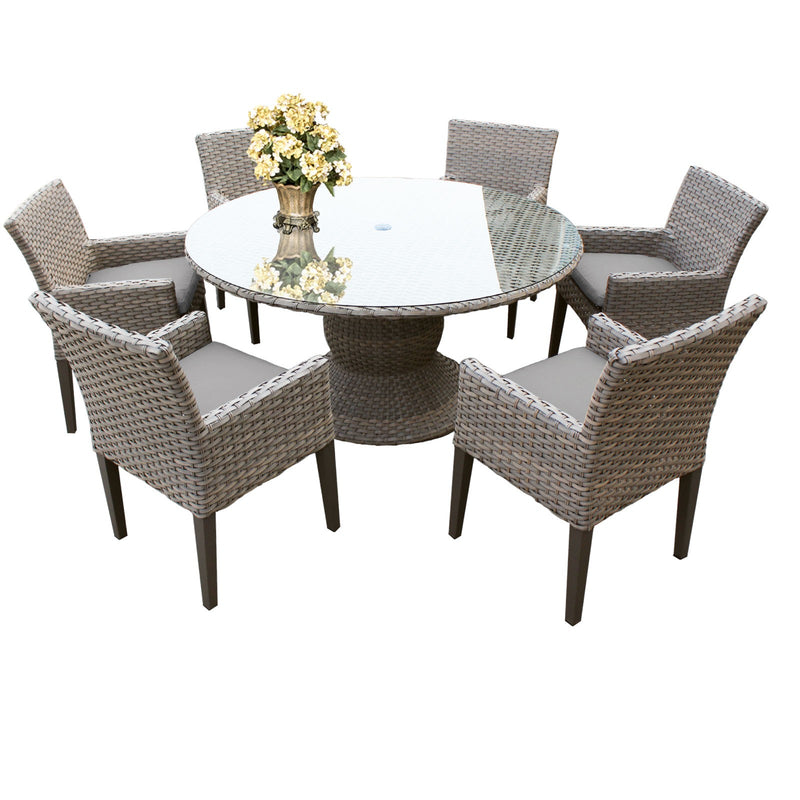 Monterey 60 Inch Outdoor Patio Dining Table with 6 Chairs with Arms
