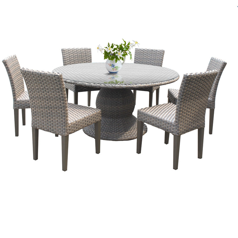 Monterey 60 Inch Outdoor Patio Dining Table with 6 Armless Chairs Without Cushions