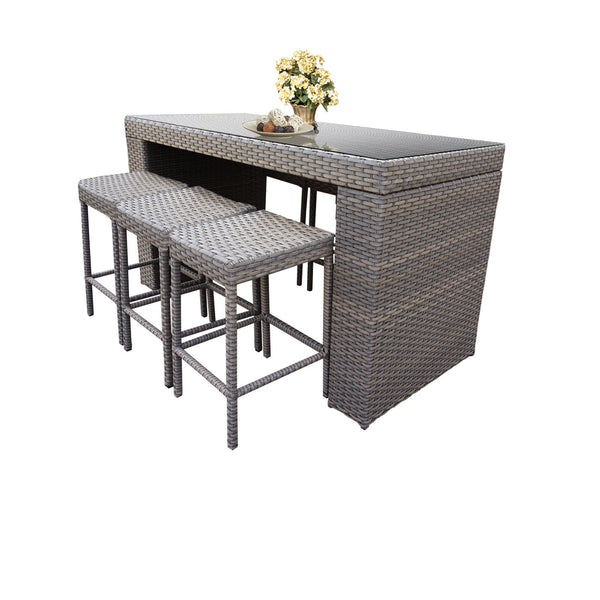 Monterey Bar Table Set With Backless Barstools 7 Piece Outdoor Wicker Patio Furniture