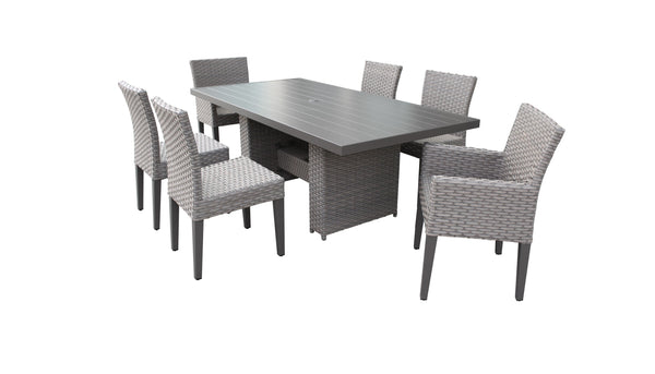 Monterey Rectangular Outdoor Patio Dining Table with 4 Armless Chairs and 2 Chairs w- Arms Without Cushions